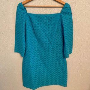 Trina Turk Aqua Lace 3/4 Shift Dress
